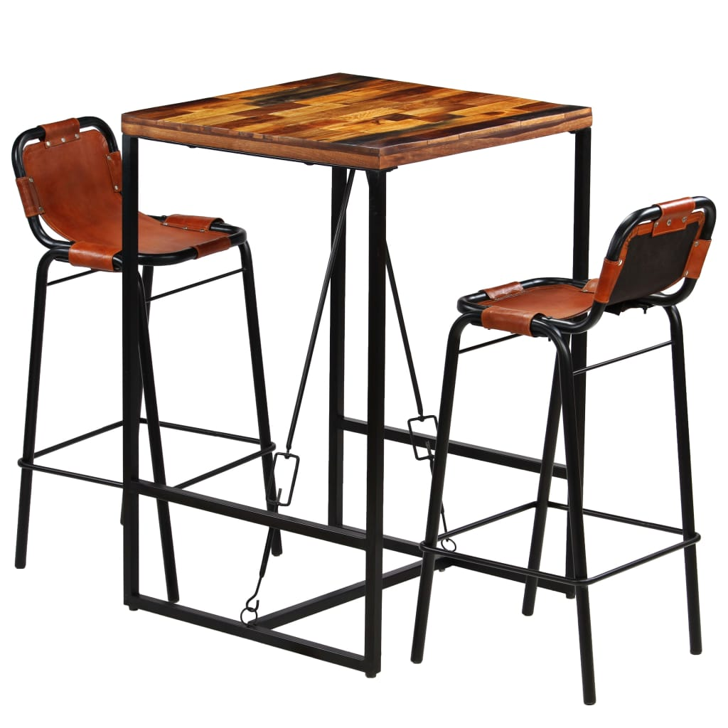 Bar Set 3 Pieces Solid Reclaimed Wood and Genuine Goat Leather | Furniture Supplies UK