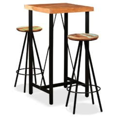 Bar Set 3 Pieces Solid Sheesham and Reclaimed Wood | Furniture Supplies UK