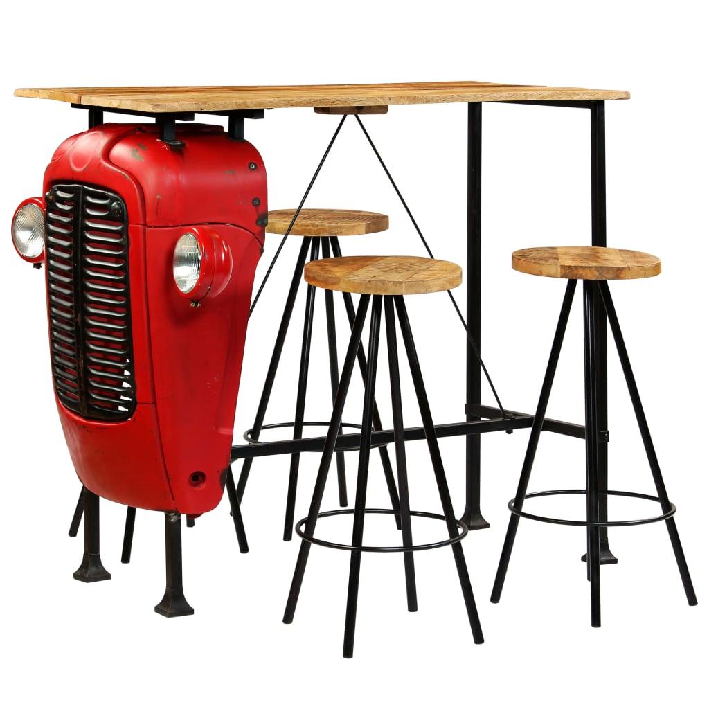 Bar Set 5 Pieces Solid Mango Wood 120x60x107 cm | Furniture Supplies UK