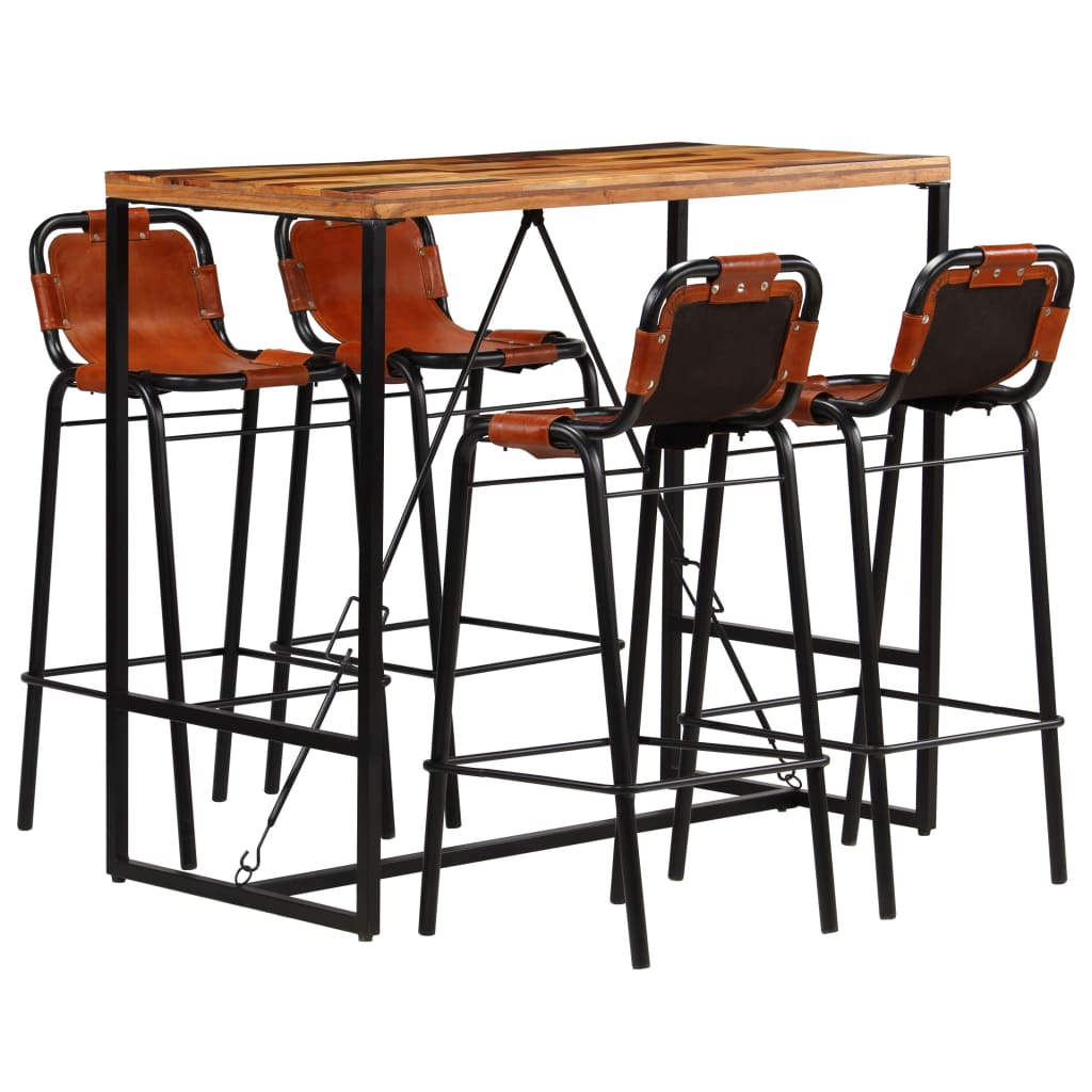 Bar Set 5 Pieces Solid Reclaimed Wood and Genuine Goat Leather |  | Brown