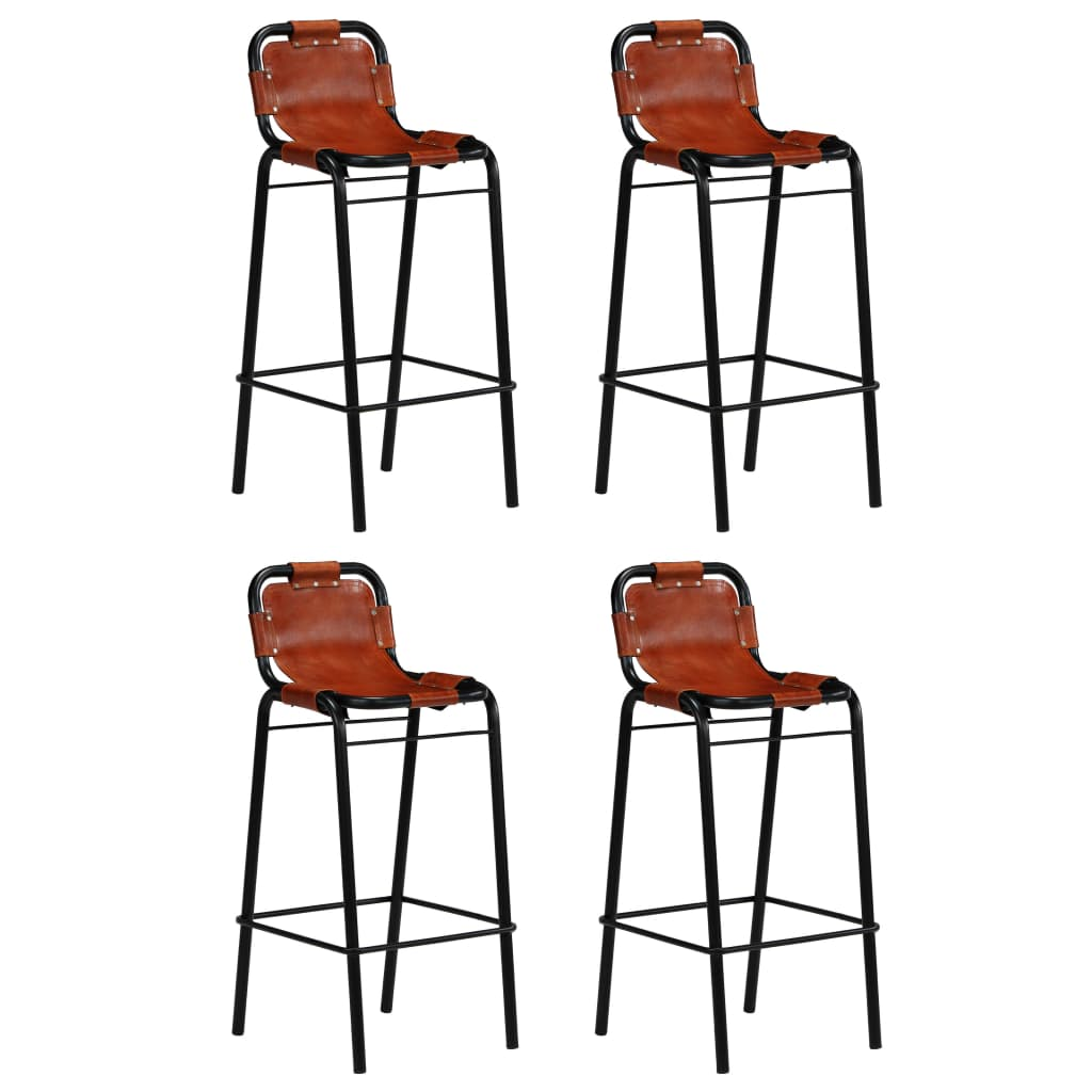 Bar Set 5 Pieces Solid Reclaimed Wood and Genuine Goat Leather