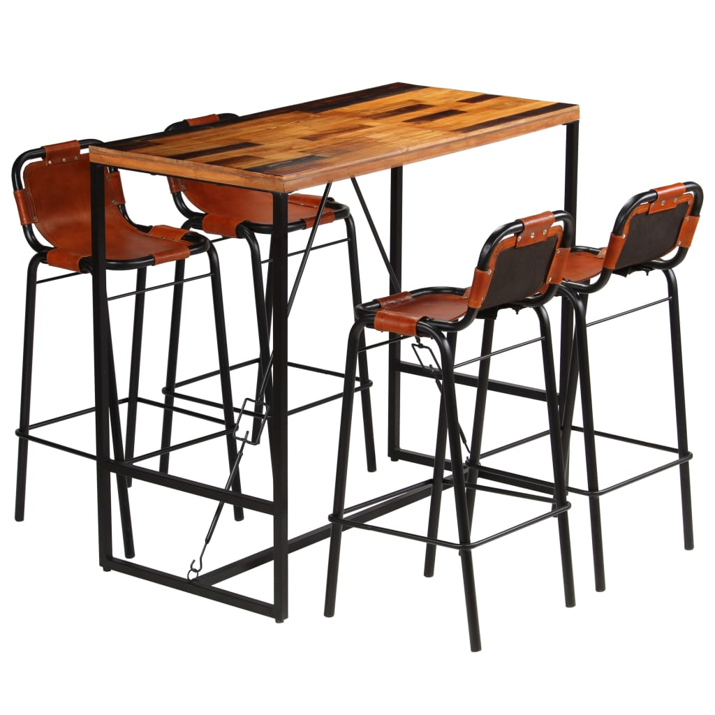 Bar Set 5 Pieces Solid Reclaimed Wood and Genuine Goat Leather | Furniture Supplies UK