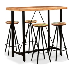Bar Set 5 Pieces Solid Sheesham and Reclaimed Wood | Furniture Supplies UK