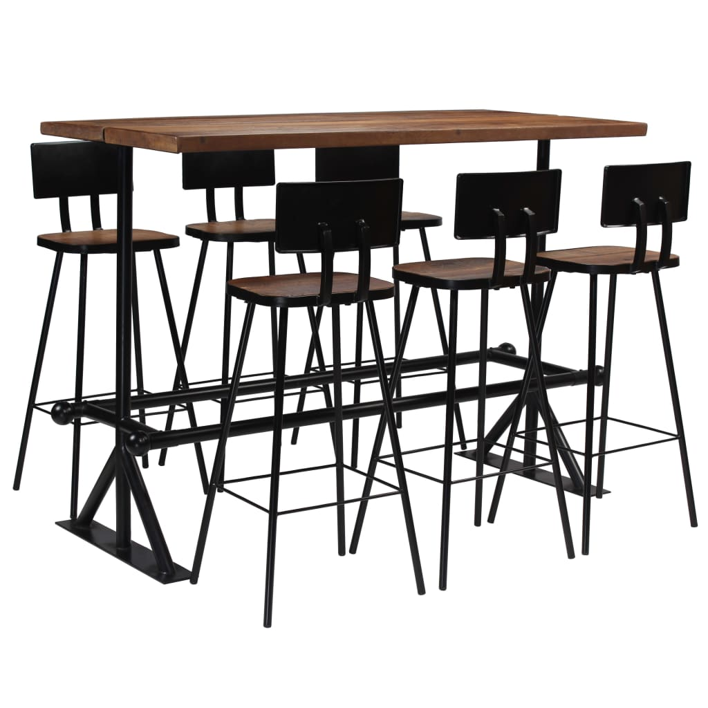 Bar Set 7 Piece Solid Reclaimed Wood | Furniture Supplies UK