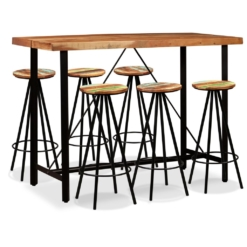 Bar Set 7 Pieces Solid Sheesham and Reclaimed Wood | Furniture Supplies UK