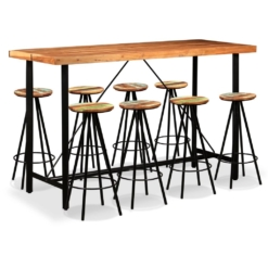 Bar Set 9 Pieces Solid Sheesham and Reclaimed Wood | Furniture Supplies UK