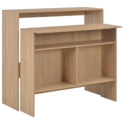 Bar Table with 2 Table Tops Oak 130x40x120 cm | Furniture Supplies UK