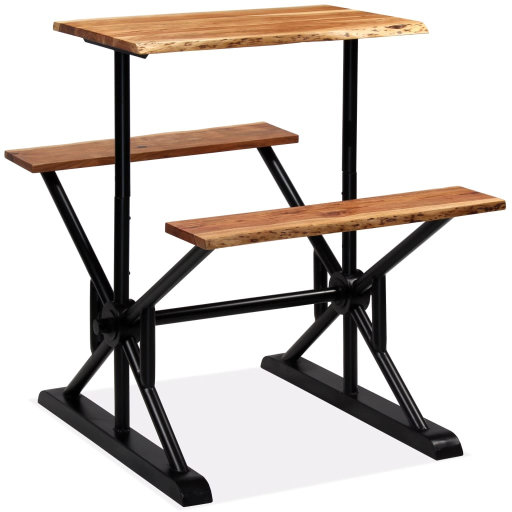 Bar Table with Benches Solid Acacia Wood 80x50x107 cm | Furniture Supplies UK