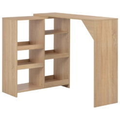 Bar Table with Moveable Shelf Oak 138x40x120 cm | Furniture Supplies UK