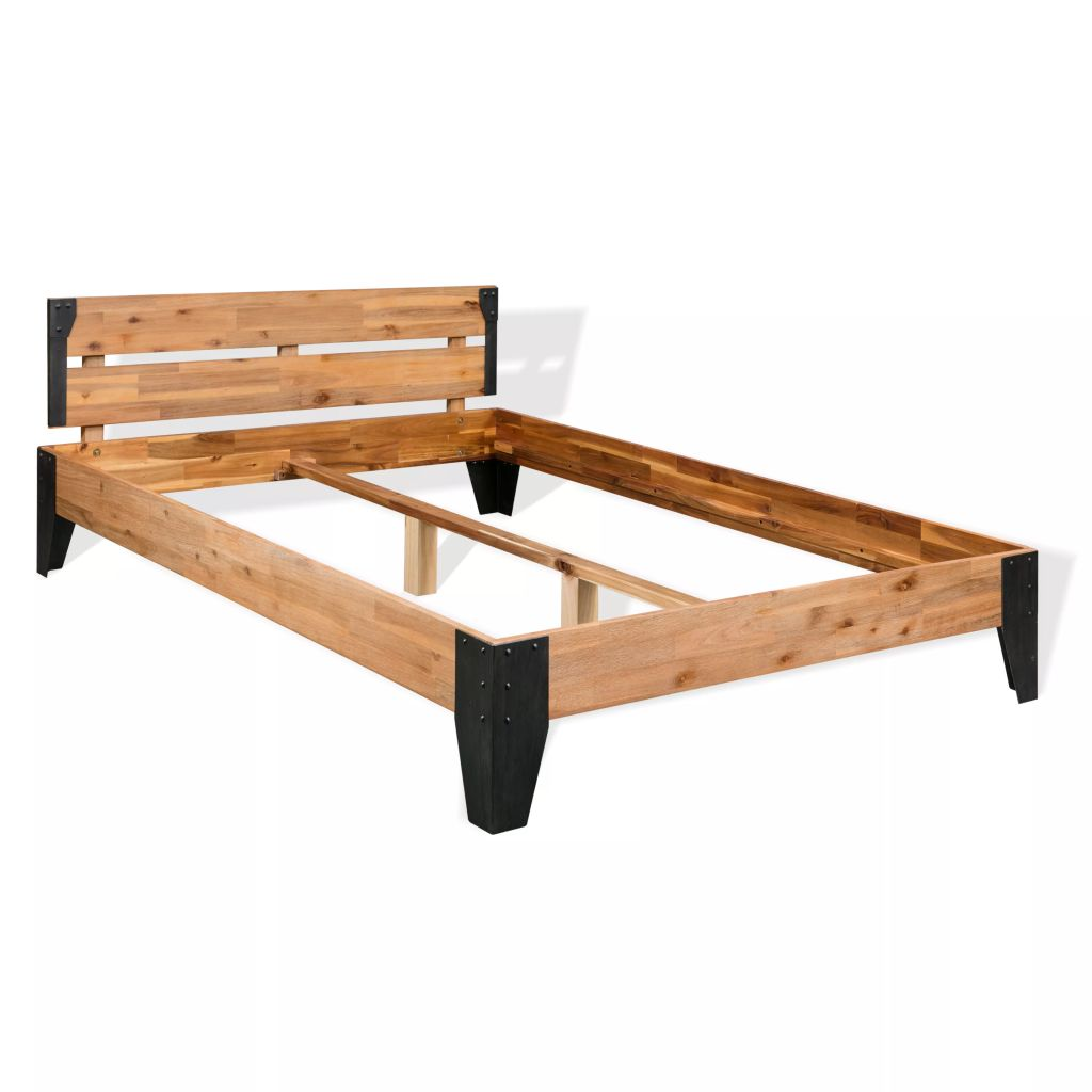 Bed Frame Solid Acacia Wood Steel 180x200 cm 6FT Super King | Furniture Supplies UK