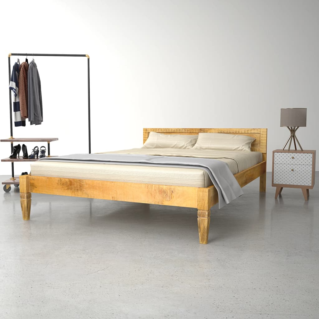Bed Frame Solid Mango Wood 140x200 cm | Furniture Supplies UK