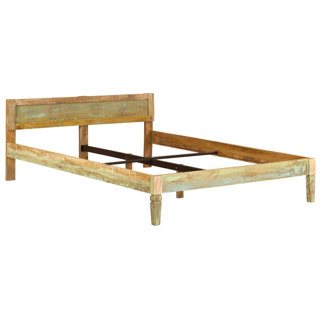Bed Frame Solid Mango Wood 160x200 cm |  | Brown