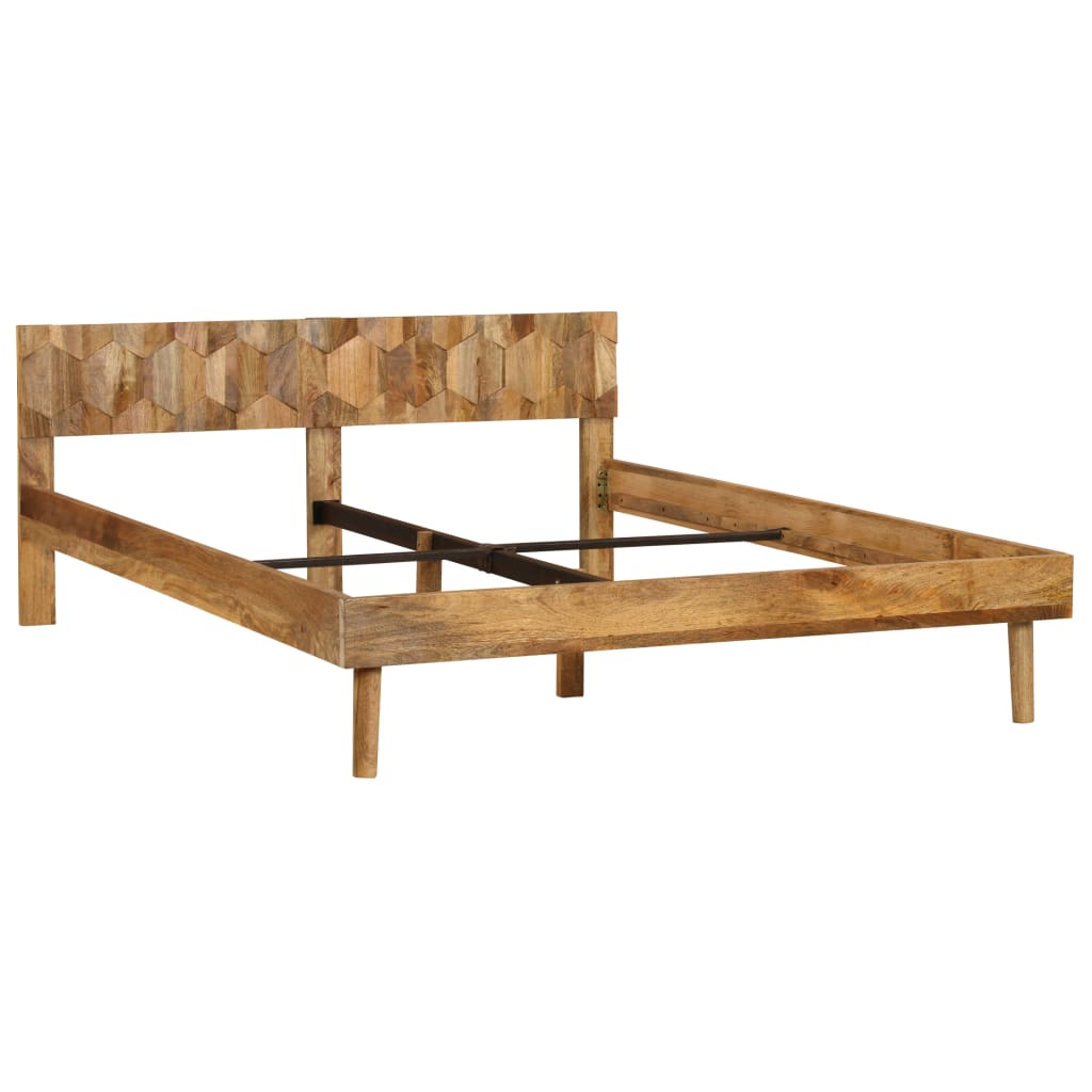 Bed Frame Solid Mango Wood 160x200 cm |  | Brown
