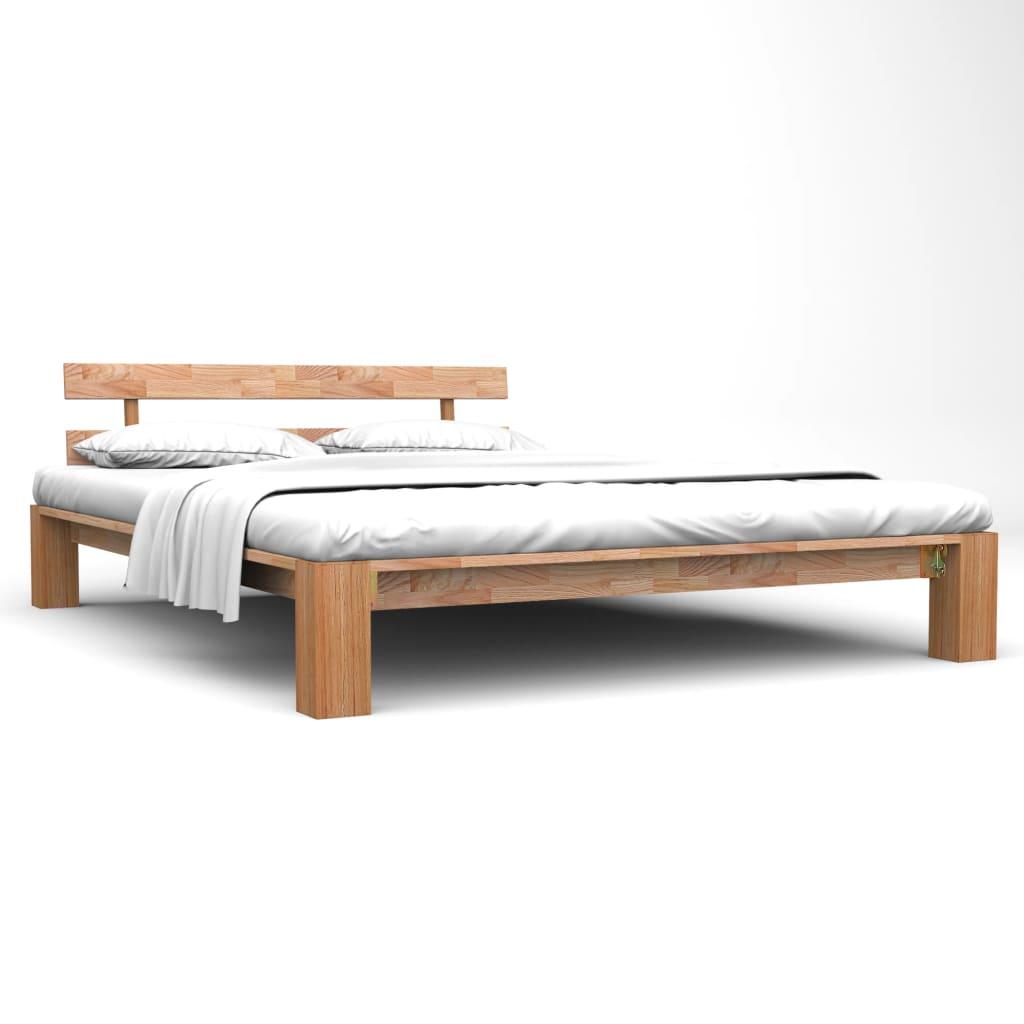 Bed Frame Solid Oak Wood 140x200 cm | Furniture Supplies UK