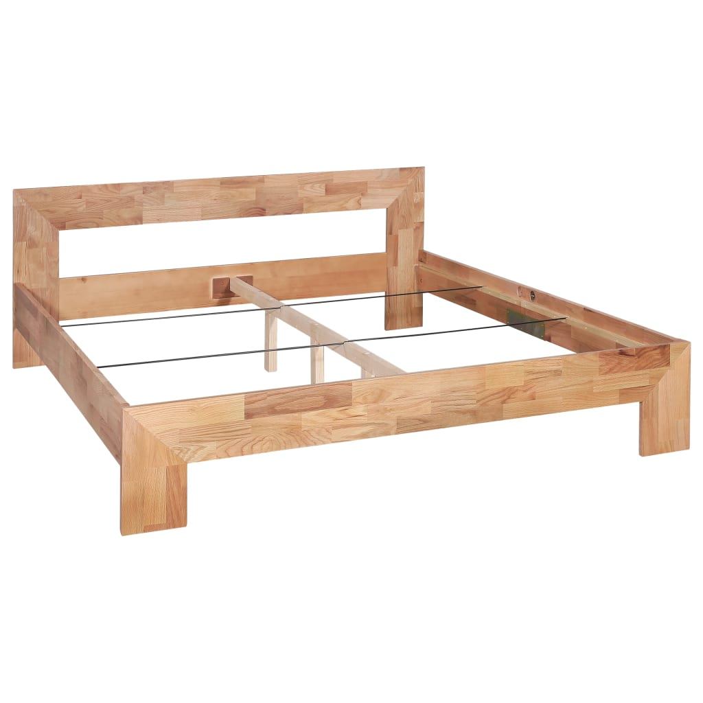 Bed Frame Solid Oak Wood 160x200 cm |  | Brown