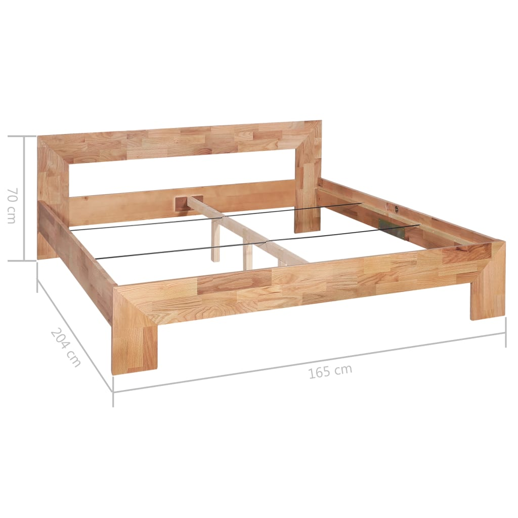 Bed Frame Solid Oak Wood 160x200 cm