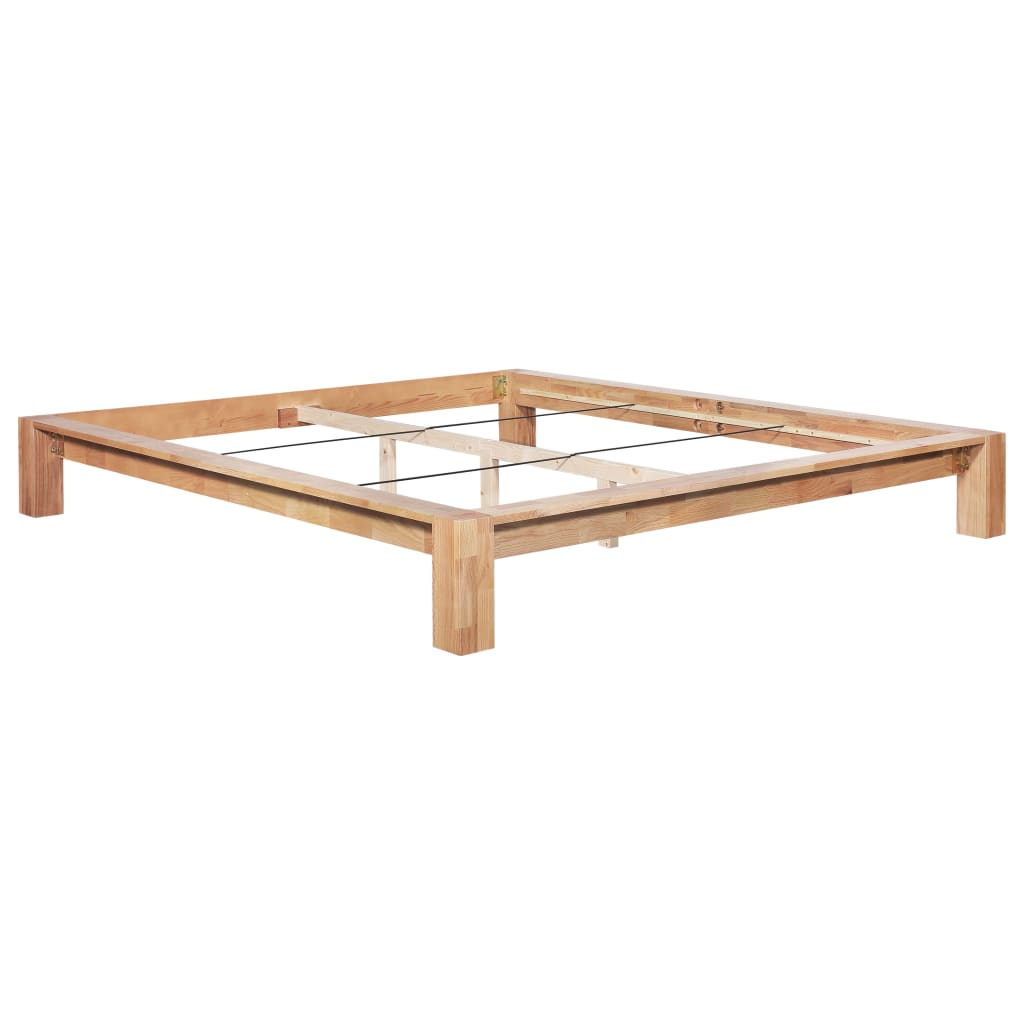 Bed Frame Solid Oak Wood 180x200 cm |  | Brown
