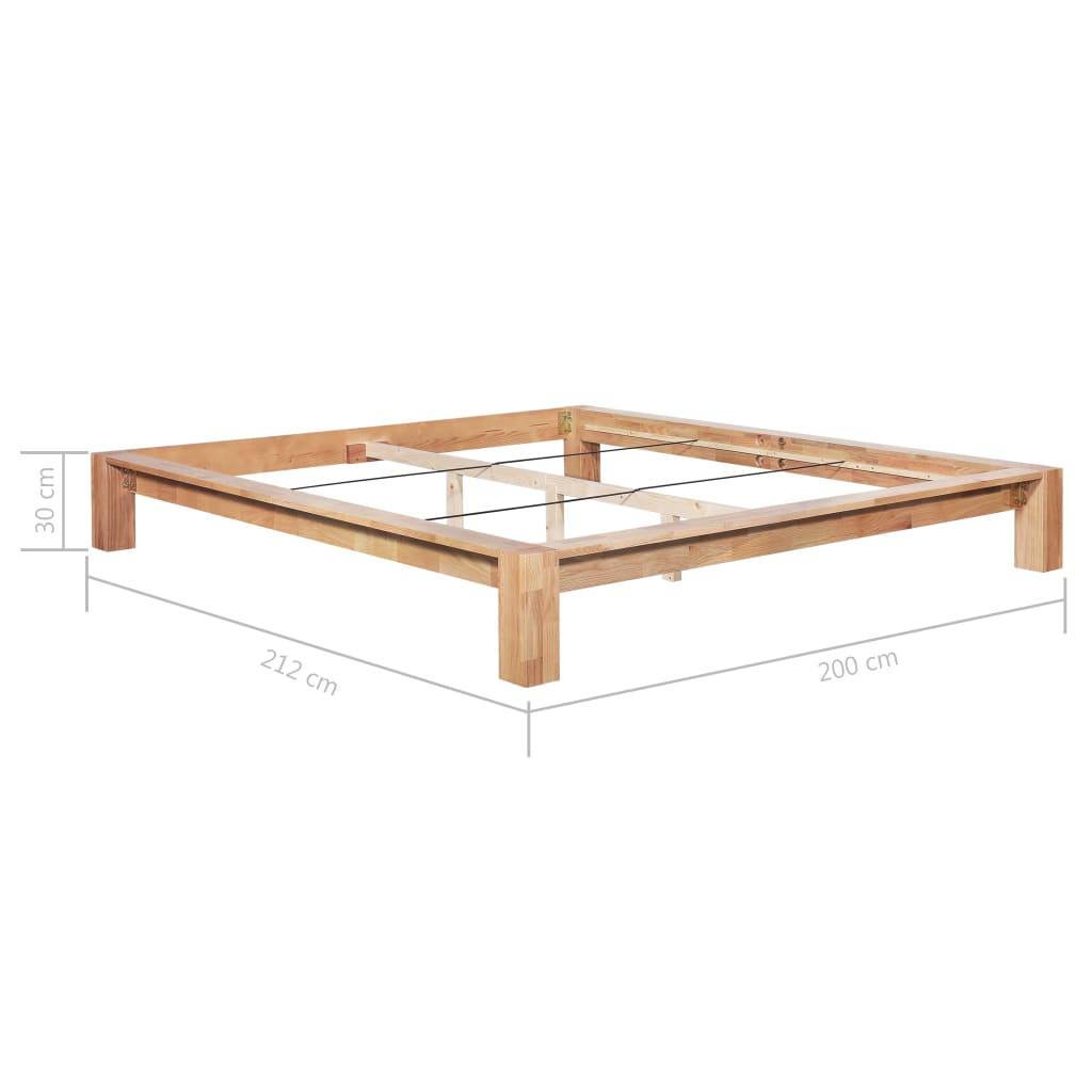 Bed Frame Solid Oak Wood 180x200 cm
