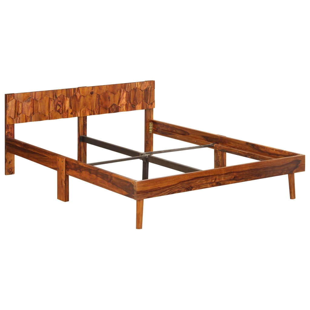 Bed Frame Solid Sheesham Wood 140x200 cm |  | Brown