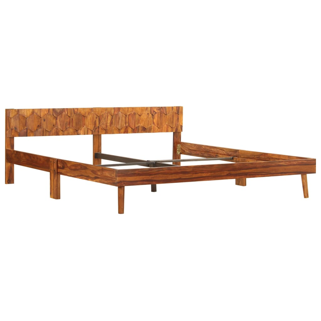Bed Frame Solid Sheesham Wood 180x200 cm |  | Brown