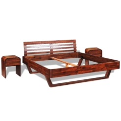 Bed Frame with 2 Nightstands Solid Acacia Wood 180x200 cm | Furniture Supplies UK