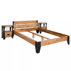 Bed Frame with 2 Nightstands Solid Acacia Wood Steel 180x200 cm | Furniture Supplies UK