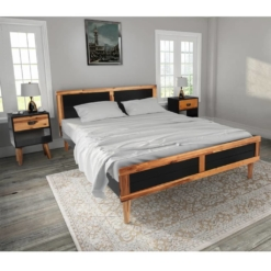 Bed Frame with Bedside Cabinets Solid Acacia Wood | Furniture Supplies UK