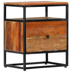 Bedside Cabinet 40x30x50 cm Solid Reclaimed Wood and Steel | Furniture Supplies UK