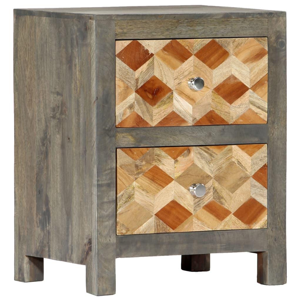 Bedside Cabinet Grey 40x30x50 cm Solid Mango Wood | Furniture Supplies UK