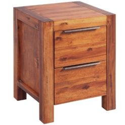 Bedside Cabinet Solid Acacia Wood Brown 45x42x58 cm | Furniture Supplies UK
