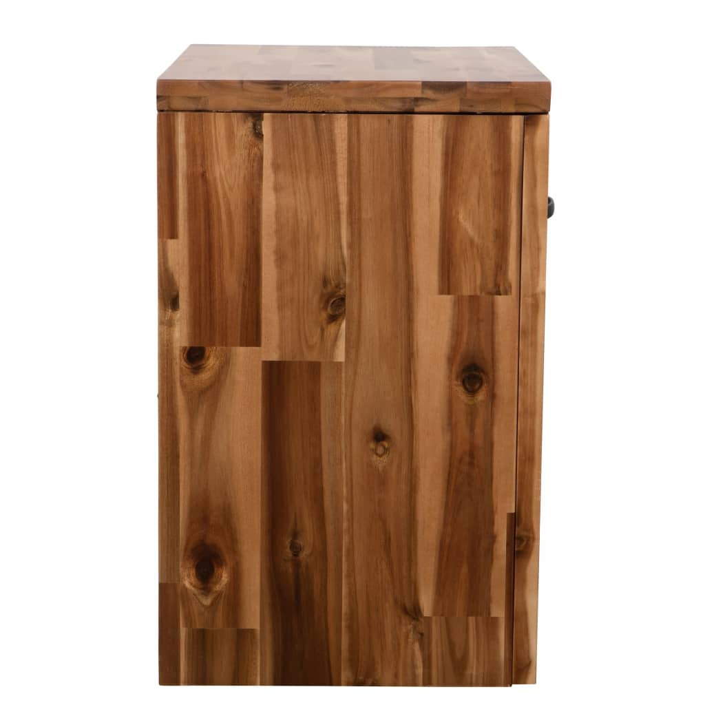 Bedside Table Solid Acacia Wood 40x30x48 cm