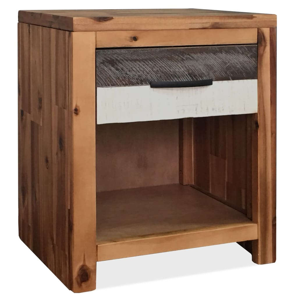 Bedside Table Solid Acacia Wood 40x30x48 cm | Furniture Supplies UK