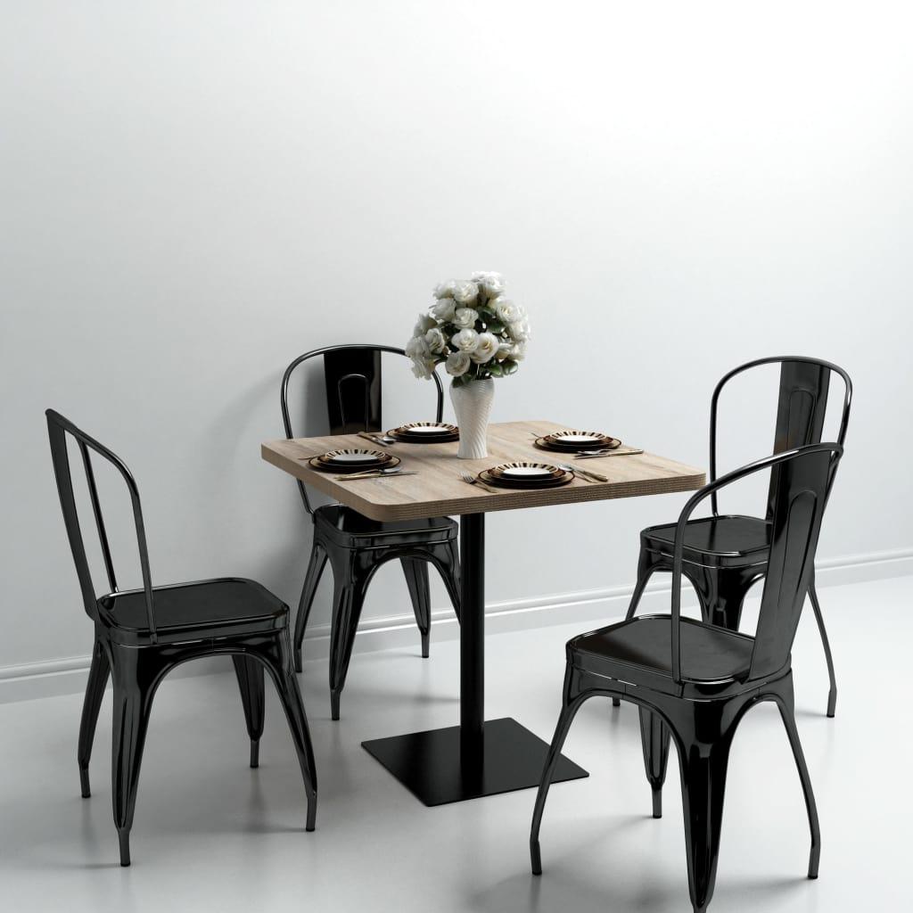 Bistro Table MDF and Steel Square 80x80x75 cm Oak Colour |  | Beige