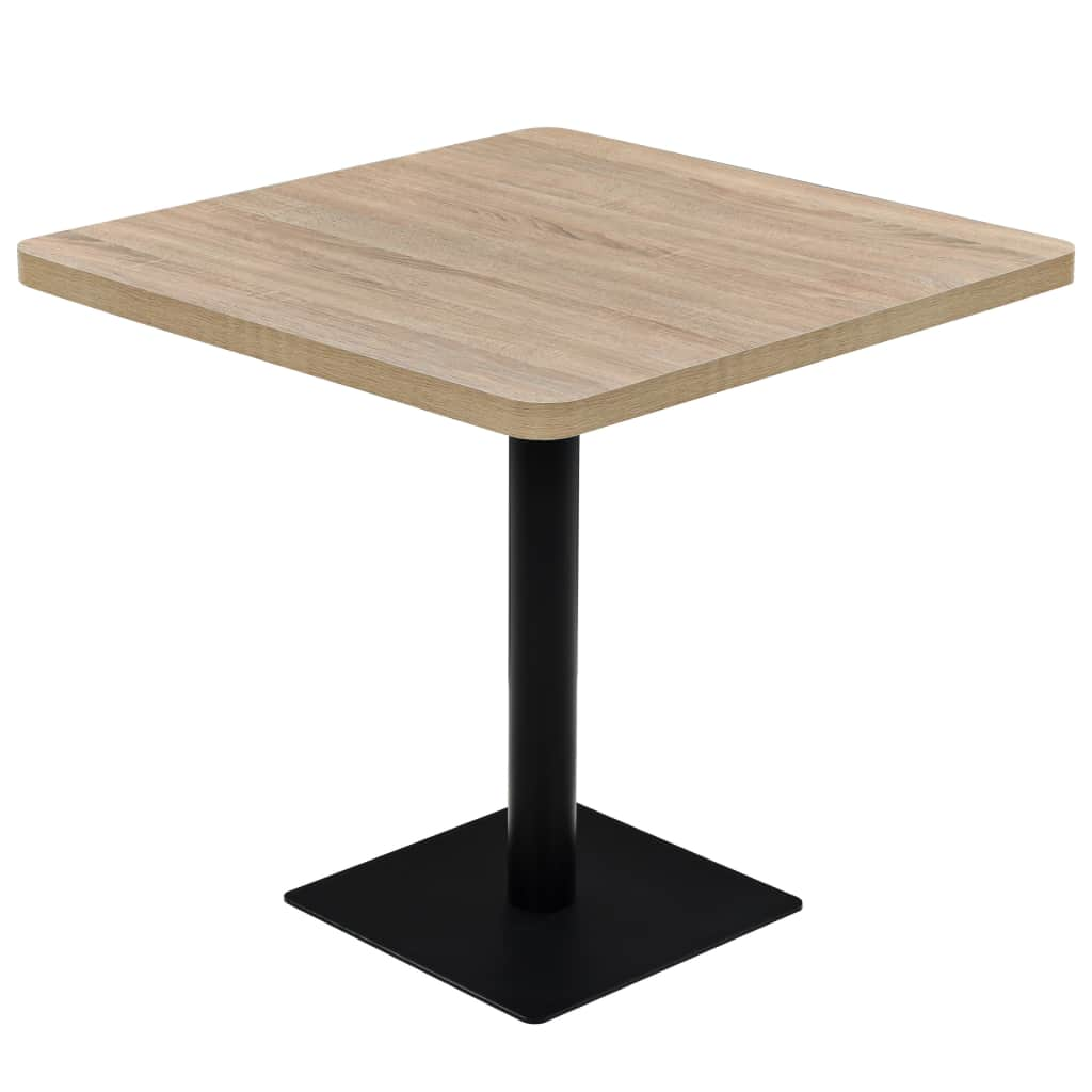 Bistro Table MDF and Steel Square 80x80x75 cm Oak Colour | Furniture Supplies UK