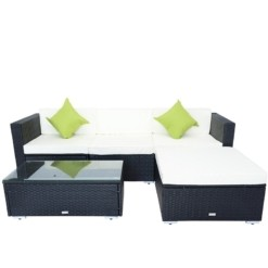 Black Rattan Garden Furniture Lounger & Coffee Table | Furniture Supplies UK