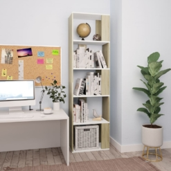 Book Cabinet/Room Divider White and Sonoma Oak 45x24x159 cm Chipboard   Furniture Supplies UK