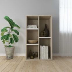 Book Cabinet/Sideboard White and Sonoma Oak 45x25x80 cm   Furniture Supplies UK