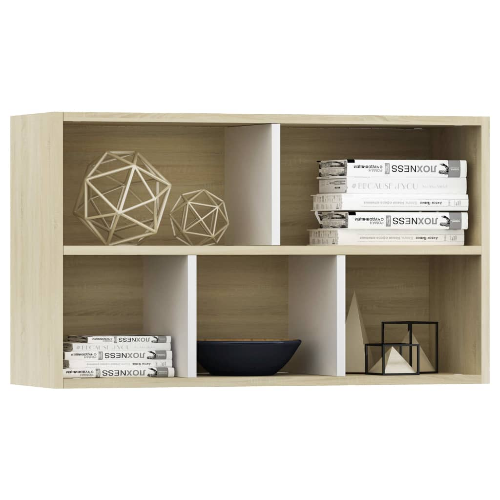 Book Cabinet/Sideboard White and Sonoma Oak 45x25x80 cm