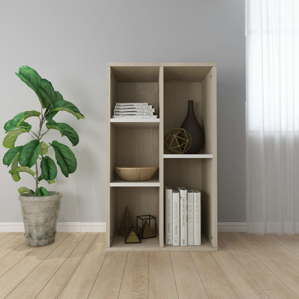 Book Cabinet/Sideboard White and Sonoma Oak 45x25x80 cm | Furniture Supplies UK