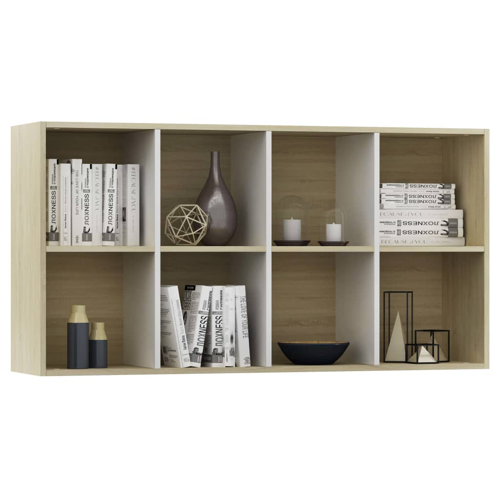 Book Cabinet/Sideboard White and Sonoma Oak 66x30x130 cm