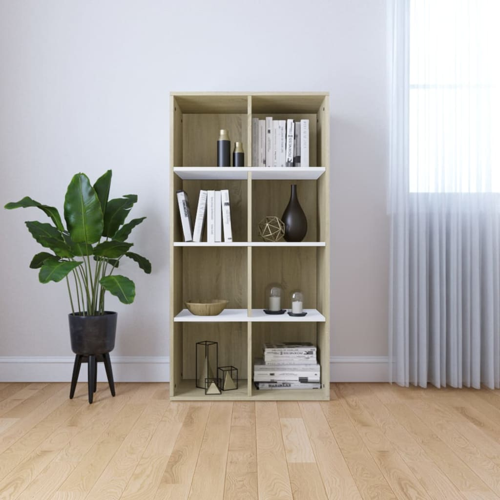 Book Cabinet/Sideboard White and Sonoma Oak 66x30x130 cm | Furniture Supplies UK