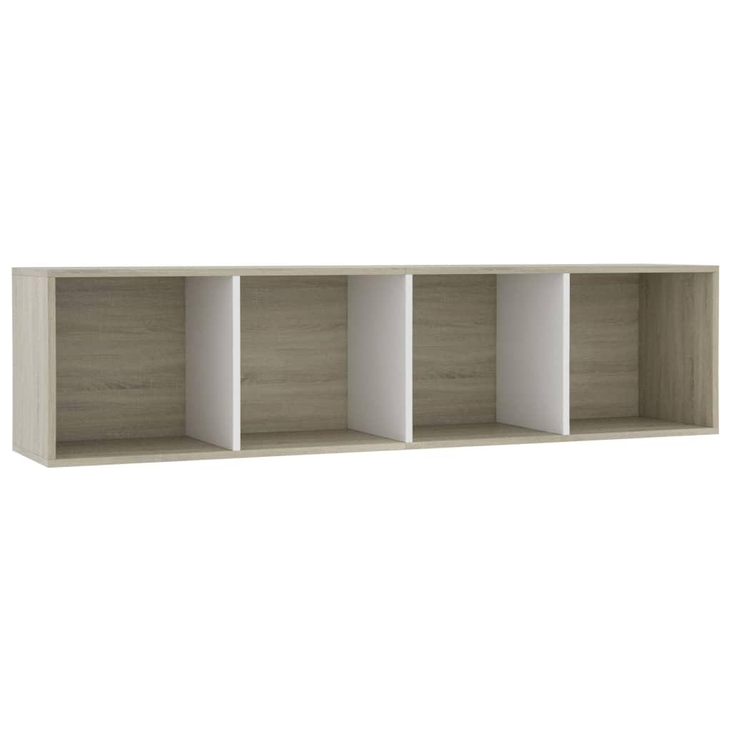 Book Cabinet/TV Cabinet White and Sonoma Oak 143x30x36 cm |  | Multicolour