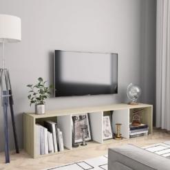 Book Cabinet/TV Cabinet White and Sonoma Oak 143x30x36 cm   Furniture Supplies UK
