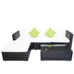 Brown Rattan Garden Furniture Lounger & Coffee Table | Furniture Supplies UK