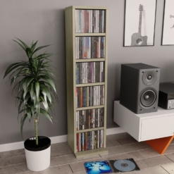 CD Cabinet Sonoma Oak 21x16x88 cm Chipboard | Furniture Supplies UK