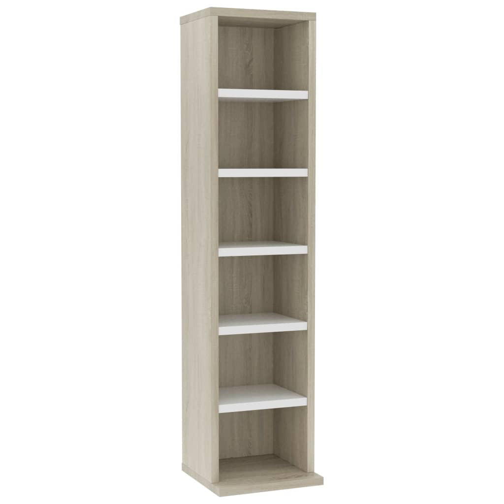 CD Cabinet White and Sonoma Oak 21x16x88 cm Chipboard |  | Brown