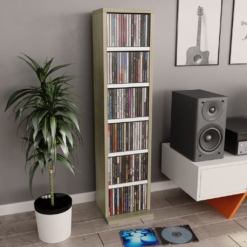 CD Cabinet White and Sonoma Oak 21x16x88 cm Chipboard | Furniture Supplies UK