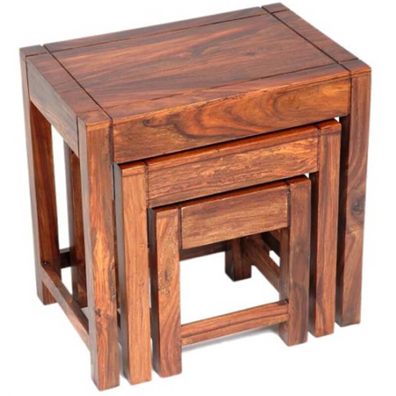 Cadiz Sheesham Wood Nest of 3 Tables | Furniture Supplies UK