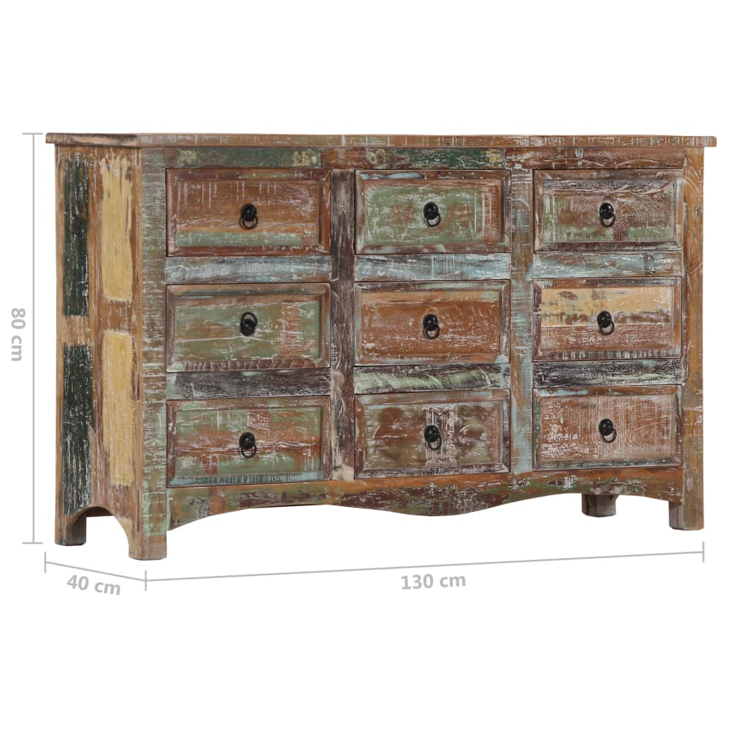Chest of Drawers 130x40x80 cm Solid Reclaimed Wood
