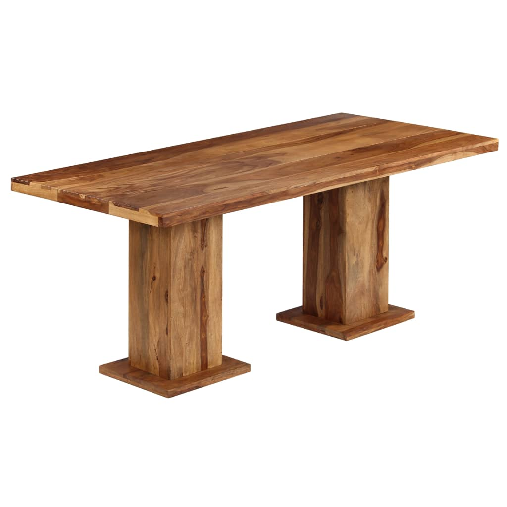 Chunky Cubic Dining Table Solid Sheesham Wood 175x90x77 cm | Furniture Supplies UK